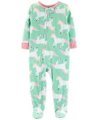 NEW Carter/'s Girls 1 Piece Fleece PJs NWT 3T 4 6 10 12 year Pink Unicorn Hooded