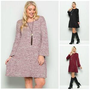 New Womens Long Sleeve Boho Western Dress Tunic Plus Size Black L XL ...