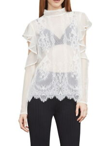 NEW-BCBG-MAXAZRIA-IVORY-SABIAN-COLD-SHOULDER-LACE-TOP-GUD1Z543-S661A-SIZE-M