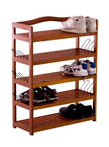 meuble chaussures michaela bois etagere 5 tablettes rangement