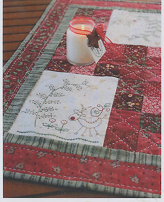 PATTERN - In the Christmas Woods - stitchery table centre PATTERN - Gail Pan