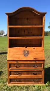 Details About Office Furniture Used Secretary Desk With Hutch Drawers Cabinet Rustic Pine