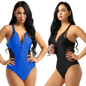 d4ff242de66 2019 Women Sexy Zipper Racerback One Piece Swimsuit Bikini Swimwear ...