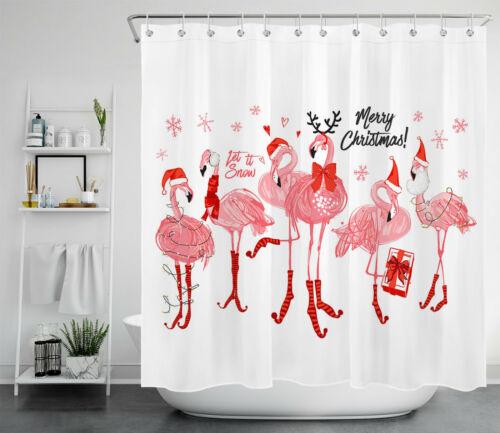 Christmas Theme Dwarf Snowman Bathroom Decor Shower Curtain Set Polyester Fabric