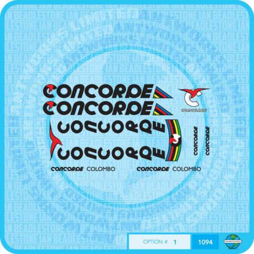 Concorde Colombo Bicycle Decals Stickers Set 1 Black Text Transfers