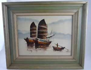 Vintage-Seascape-Oil-Painting-P-Wong-Chinese-JUNK-Fishing-Boats-Framed