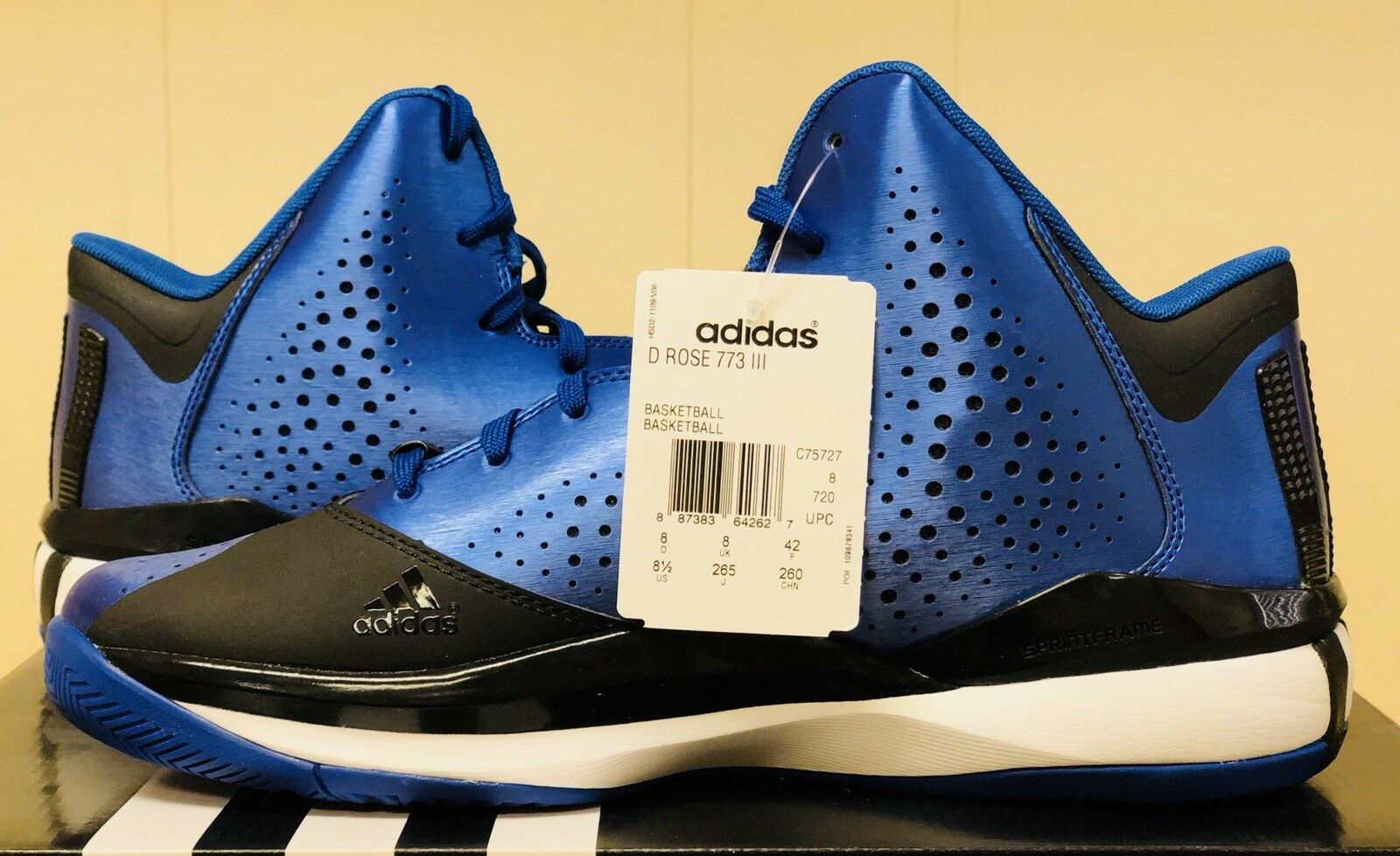 New Adidas Derrick Rose 773 III HIGH Blue Nero Nero Nero Uomo 8.5 C75727 Basketball Shoes 1353f2