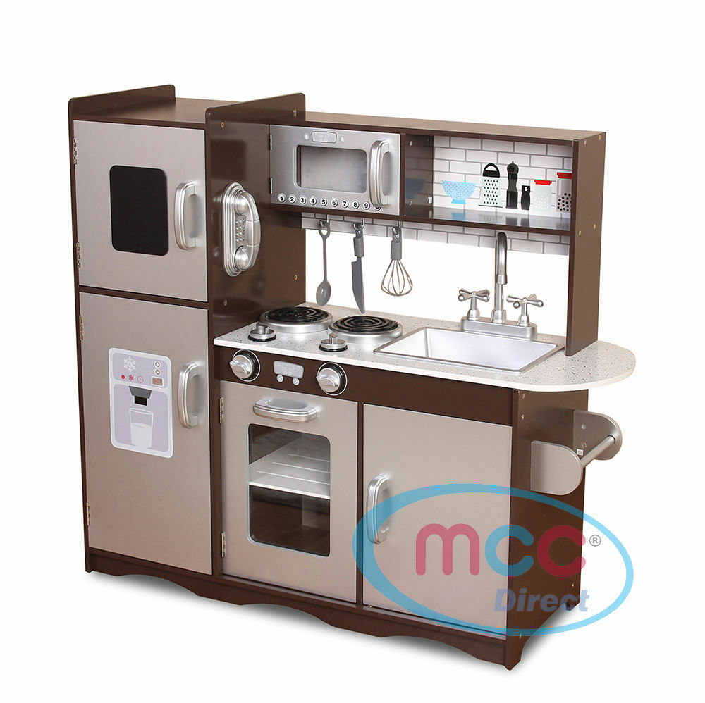 Spielküche aus Holz Unisex von MCC wunderschönes Design BRAUN SILBER