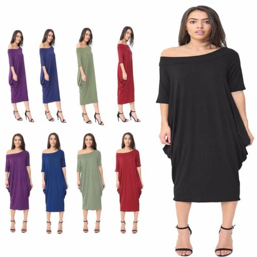 New Ladies Off Shoulder Baggy 3//4 Sleeve Midi Stretch Oversized Top Pocket Dress