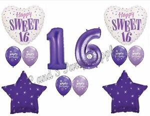 Image Is Loading PURPLE 16TH Sixteenth Birthday Party Balloons Decoration Supplies