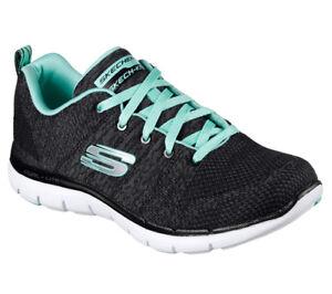 Details zu NEU SKECHERS Damen Sneakers Memory Foam FLEX APPEAL 2.0 HIGH ENERGY BlackTürkis
