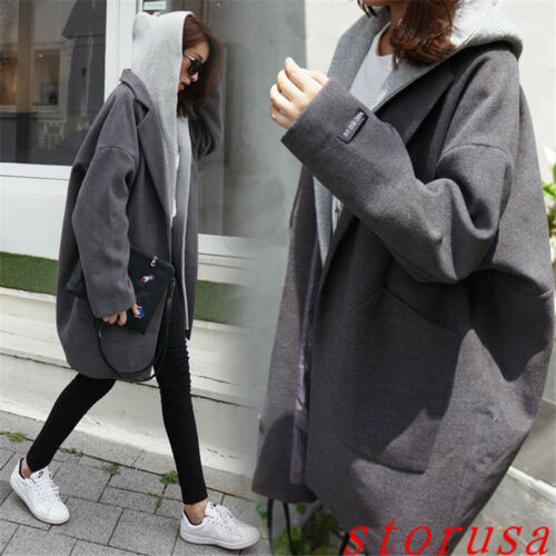Thicken Studerende Street Coat Bf Size Koreansk Overcoat Loose Style Blended Wool 4Pxf8dq