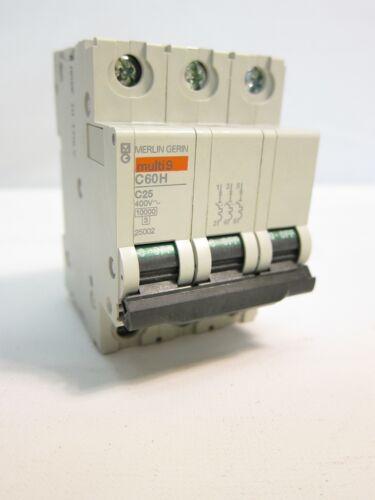 New Merlin Gerin Multi9 C60H C25 400V 3 Pole Circuit Breaker 3P 25002 25A