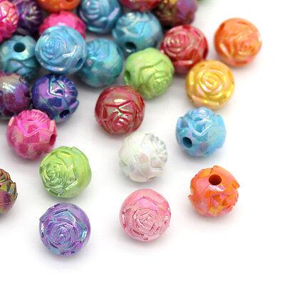 200 Mix Mehrfarbig Rund Blumen Acryl Spacer Beads Basteln 8mm
