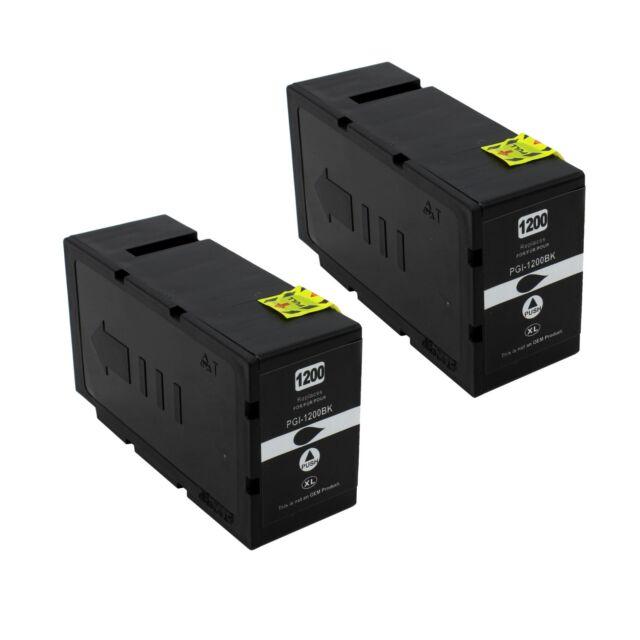 2PK Pigment PGI-1200XL 1200 XL Black Ink For Canon MAXIFY MB2020 MB2320 MB2120