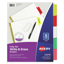 Avery 23076 5 Tab Big Tab Write Amp Erase Dividers Letter Multicolor New