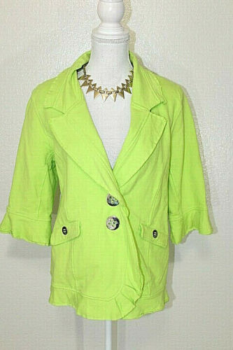 NEON BUDDHA Sz Large Neon Green Stretch Button Fro
