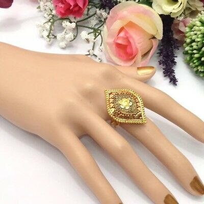 Indian Asian Bridal Jewellery Bollywood Ethnic 22ct Gold Plated Adjustable Ring
