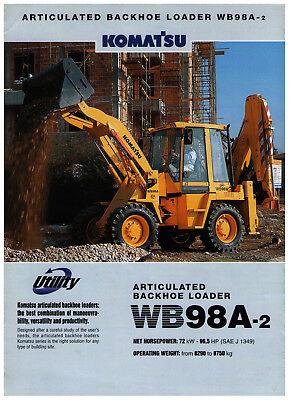 Komatsu Wb98a-2 Baggerlader Prospekt Von 2000 In Englischer Sprache Ein BrüLlender Handel