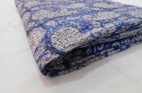 Indian Queen size Paisley Kantha Bedspread Quilts Blanket Bedding Handmade Blue