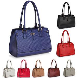 Details about Ladies Shoulder Bag Women Designer Handbag Medium Size Patent  leather Top Handle 909740d5b11b0