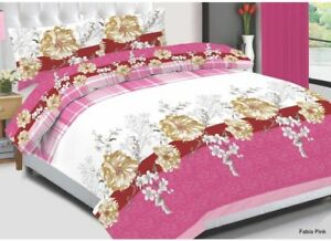 Fabia-Pink-Cotton-Bedding-Set-Quilt-Duvet-Cover-With-Pillow-Cases-amp-Fitted-Sheet
