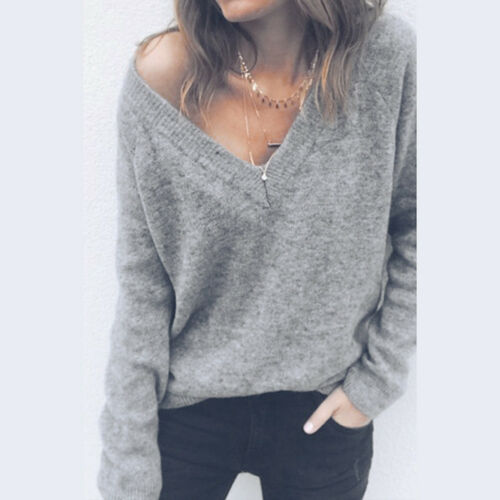 Fashion Womens Long Sleeve Winter Sweater Casual Shirt Jumper Pullover Tops Lot