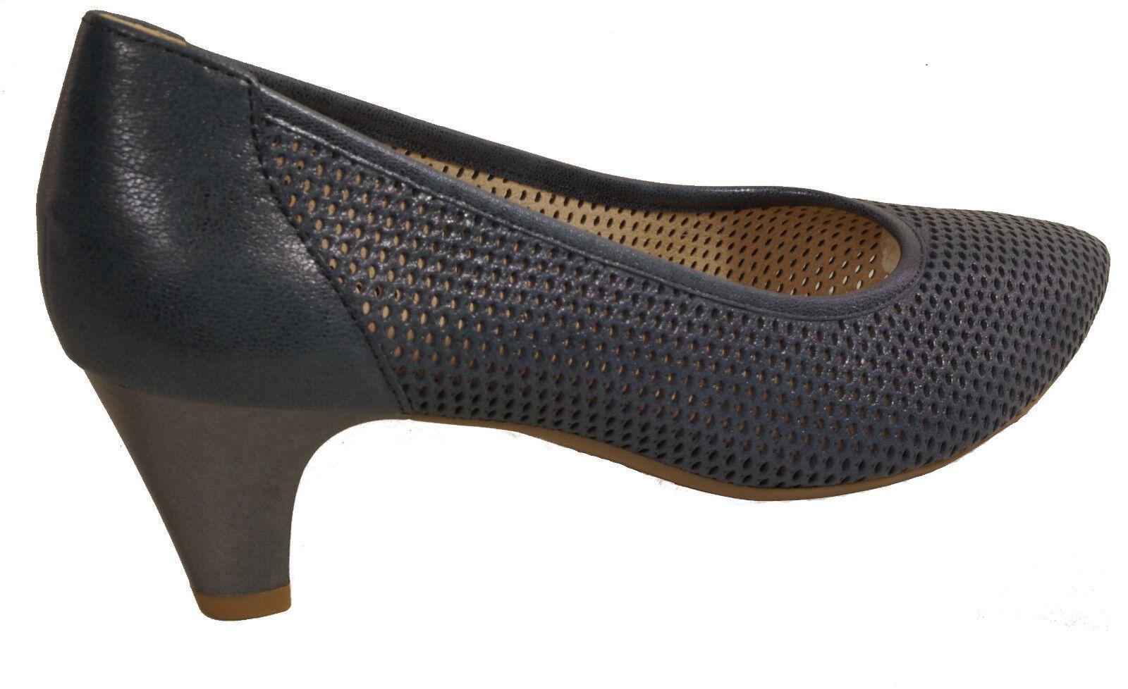 CAPRICE Schuhe Pumps blau metallic echt Luft Leder - laufen auf Luft echt - NEU a05374