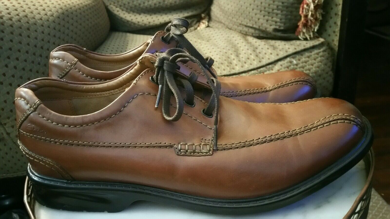 Clarks Brown Lace Up shoes sz 11.5 Dress Or Casual Worn Once
