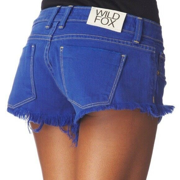 Wildfox Couture Overdyed Friday Night Shorts in Cobalt 28 Retail  132