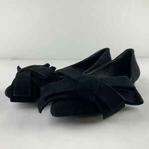 Jeffrey-Campbell-Size-8-Black-Suede-Leather-Flat-Heel-Bow-Accent-Casual-Business