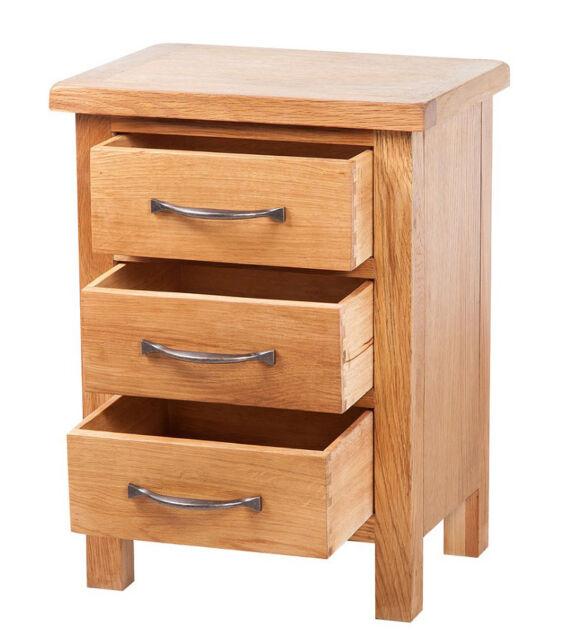 Solid Oak Bedside Table Small Bedroom Furniture Side Cabinet Unit 3 Drawer Wood