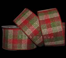 """10 Yards Christmas Red Green Metallic Lame Wired Ribbon 5//16/""""W"""