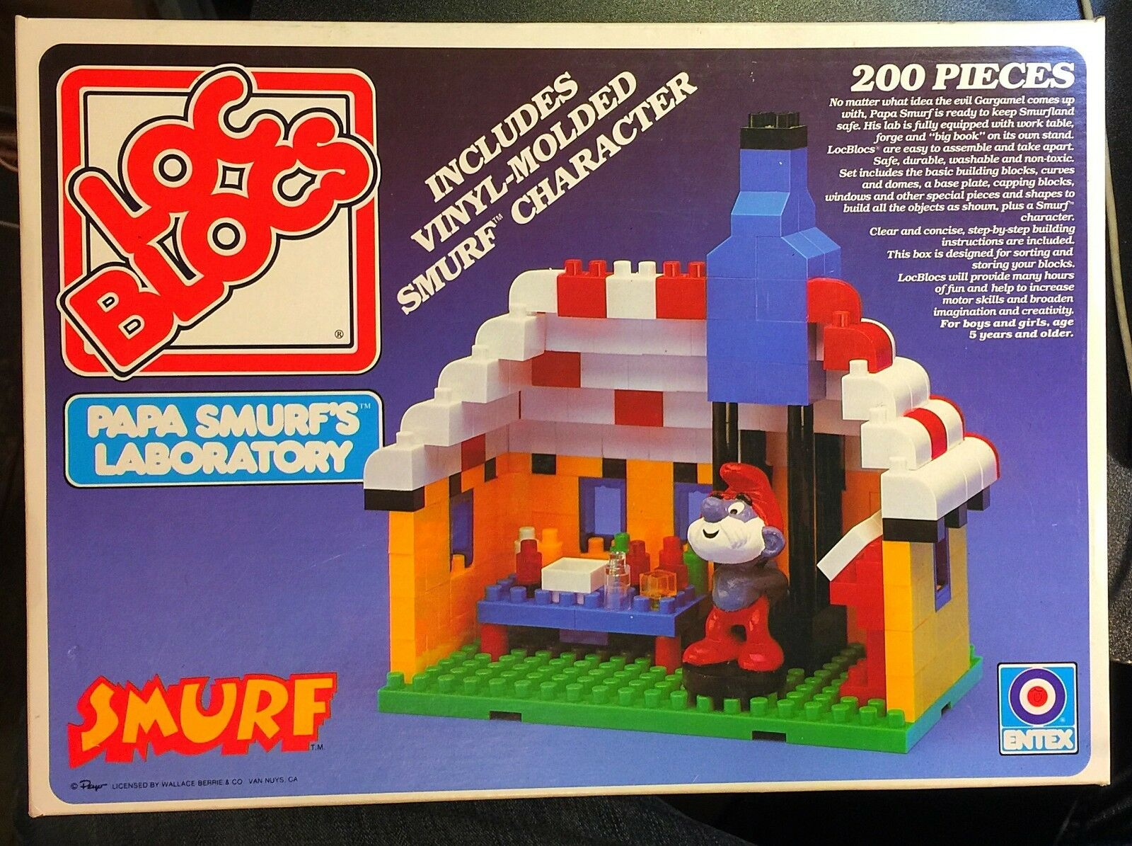 Vintage Entex Loc Blocs Papa Smurf's Laboratory Smurf with Box and Instructions