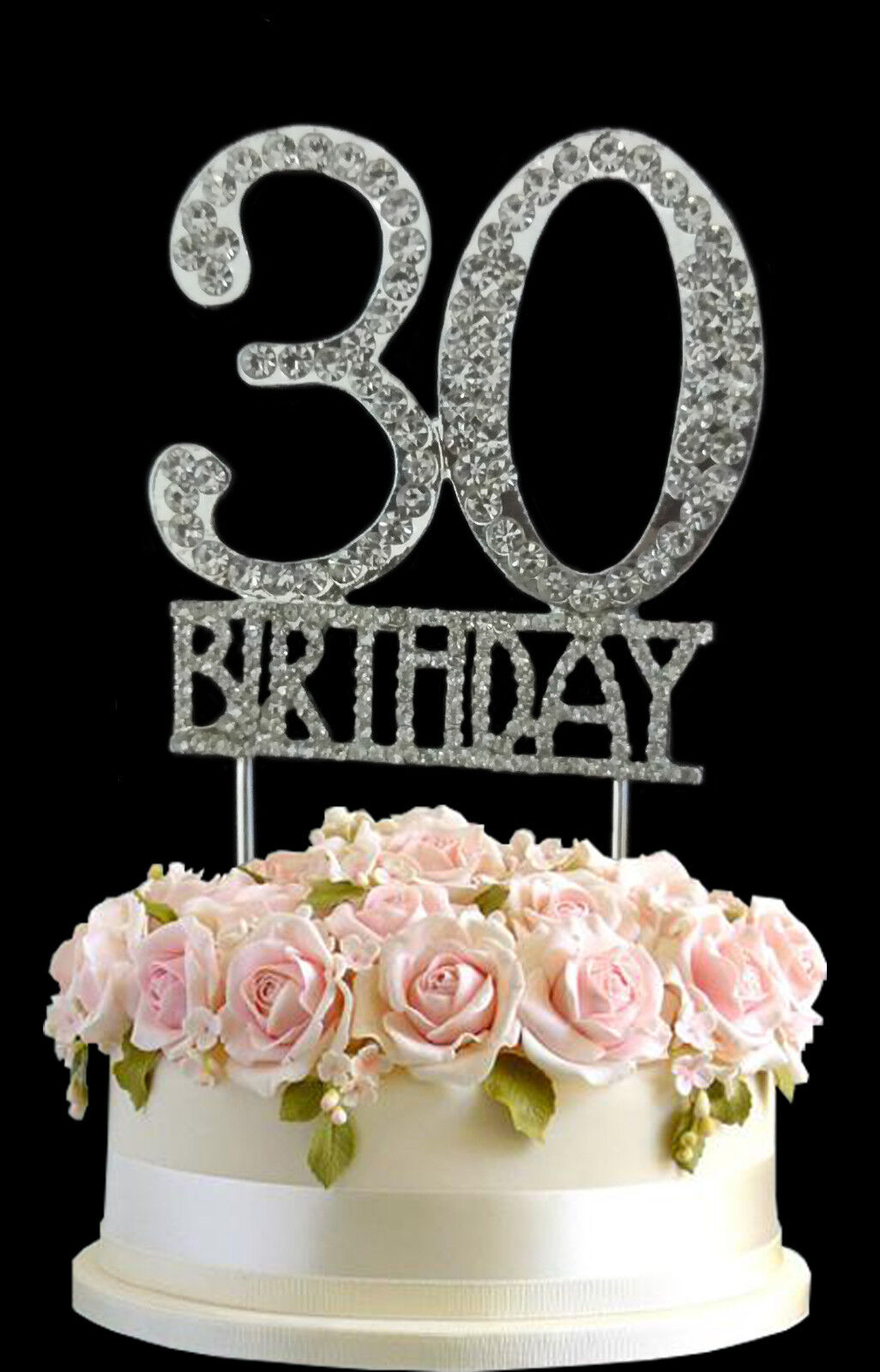 Crystal Monogran Happy 30th Birthday Cake Topper Rhinestone Diamante