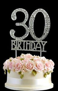 Fine Crystal Monogran Happy 30Th Birthday Cake Topper Rhinestone Personalised Birthday Cards Fashionlily Jamesorg