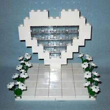 NEW LEGO CUSTOM WHITE HEART & FLOWERS WEDDING CAKE TOPPER FOR BRIDE AND GROOM