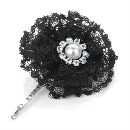 SMALL 5cm BLACK LACE HAIR FLOWER SLIDE GRIP WITH PEARL AND CRYSTAL CENTRE DETAIL