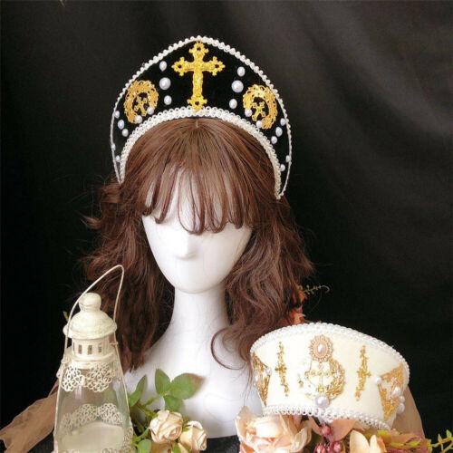 Women Renaissance Tudor Headpiece Medieval Royal French Hood LARP Coronet Tiara