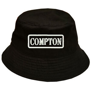 Image is loading 100-Cotton-Military-Black-Bucket-Cap-Hat-COMPTON 6372c5a8493