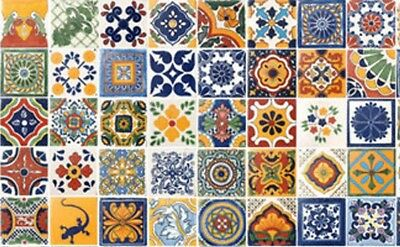 "40 Tiles 6"" X 6"" Assorted Mexican Ceramic Handmade Mosaic Art #006 Bekwame Vervaardiging"