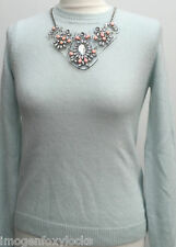 NEW RIVER ISLAND ANGORA MIX BLUE JUMPER WITH CLIP ON NECKLACE UK 8 rrp £45