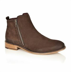 London Chelsea Wallace Mens Brown Zip Leather Brogues Boots Xr5Ox6X