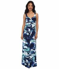 TART Collections 'Lynelle' Blue Wave Print Maxi Dress - Sz M Classic & Sexy!