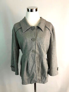 Motto-L-Large-Jacket-Womens-Casual-Gray-Buttons-Collar-Pockets-Pleats
