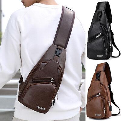 Men/'s Leather Shoulder Bag Sling Chest USB Charging Sports Crossbody Handbag