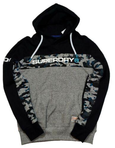 Superdry Men/'s Black//Grey Trophy Camo Splat Graphic Fleece Pullover Hoodie