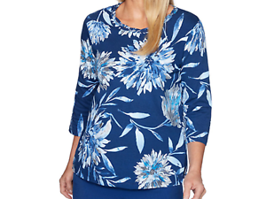 Alfred Dunner Womens Petite Floral Dragonfly Top