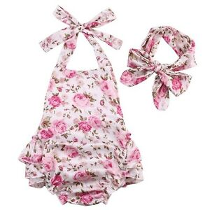 c6c64230e237 Baby Girls Summer Boutique Romper Outfit Headband Floral Vintage ...