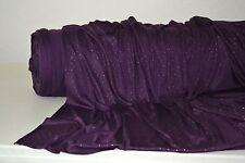 "Purple Jersey Knit w/Glitter & Gold Metallic 3D Dots 60"" Wide Fabric By The Yard"